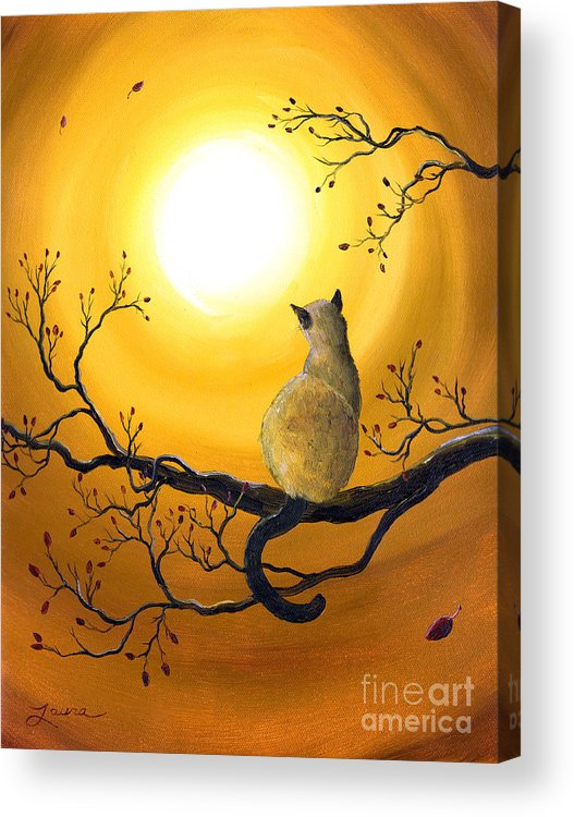 Zen Acrylic Print featuring the painting Siamese Cat In Autumn Glow by Laura Iverson