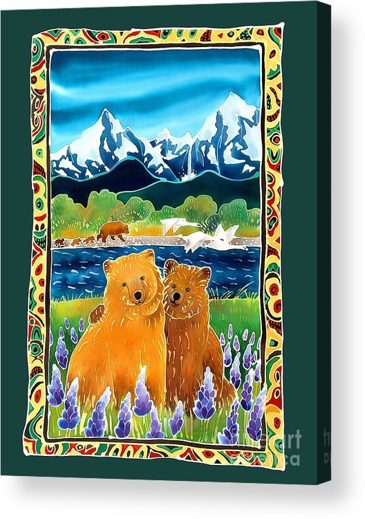 Bear Acrylic Print featuring the painting Sibling Bears Of Katmai by Harriet Peck Taylor