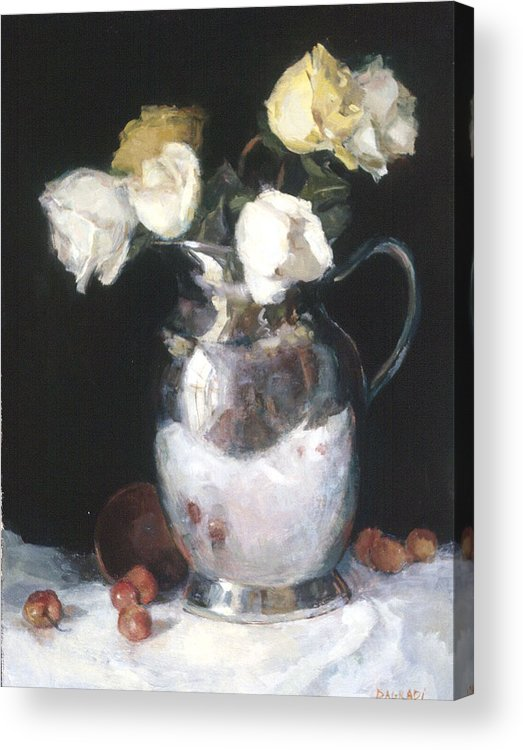 Floral Still Life Acrylic Print featuring the painting Silver Pitcher by Joan DaGradi