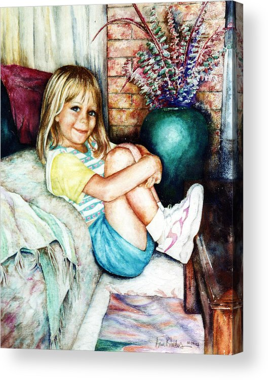 Portrait Acrylic Print featuring the painting Sittin' Pretty by Anne Rhodes