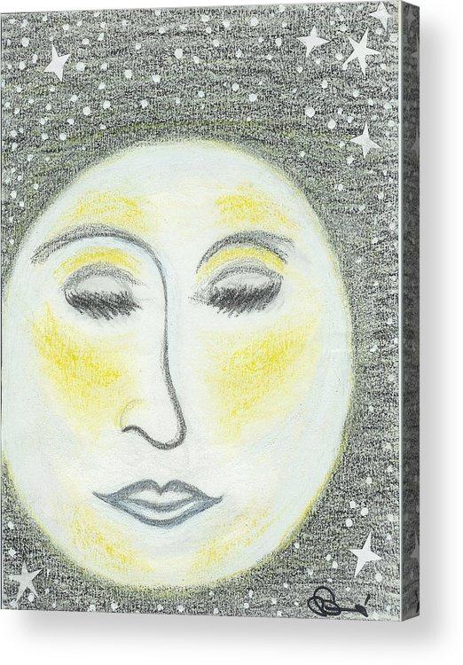 Moon Acrylic Print featuring the drawing Sleepy Moon by Ingrid Szabo