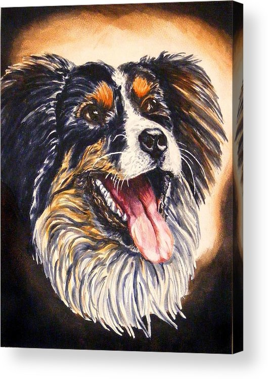Dog Portraite Cannine Acrylic Print featuring the painting Smile by Donald Dean