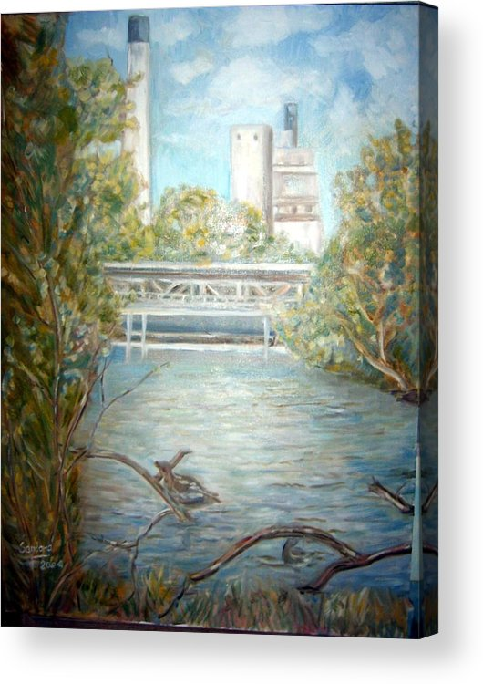 Landscape River Factory Ducks Acrylic Print featuring the painting Smokestack by Joseph Sandora Jr