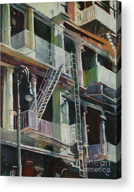 Urban Acrylic Print featuring the painting Soho Fire Escapes by Patti Mollica