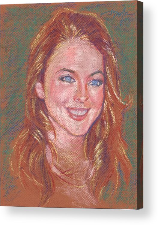 Portrait Acrylic Print featuring the painting Sonrisa Sutil by Horacio Prada