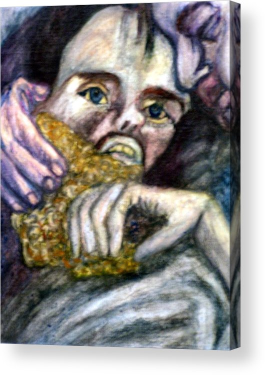 Spiritual Portrait Acrylic Print featuring the painting Sponge Christ Your Eyes by Stephen Mead
