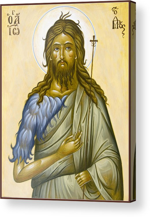 Icon Acrylic Print featuring the painting St John The Forerunner by Julia Bridget Hayes