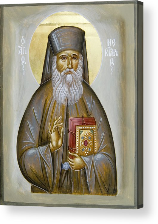 Icon Acrylic Print featuring the painting St Nektarios Of Aigina by Julia Bridget Hayes