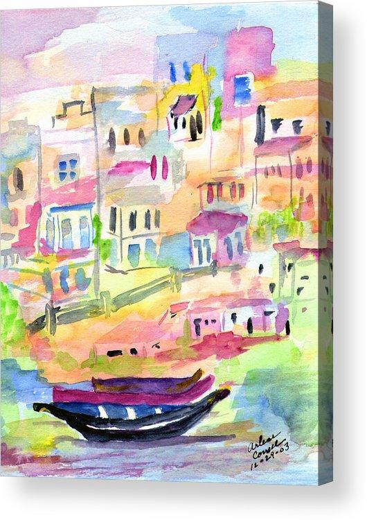 St. Paul's Bay Malta Memories Acrylic Print featuring the painting St. Paul's Bay Malta Memories by Arlene Wright-Correll