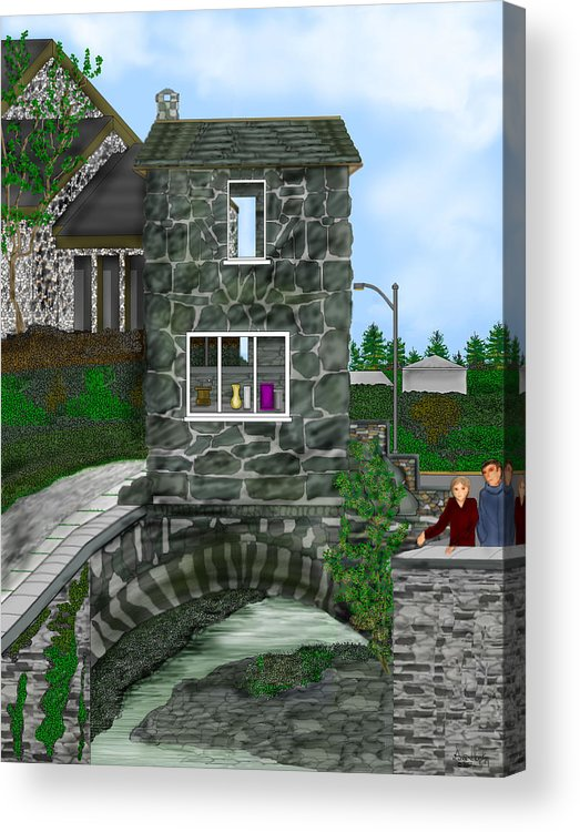 Landscape Acrylic Print featuring the painting Stone Bridge House In The Uk by Anne Norskog