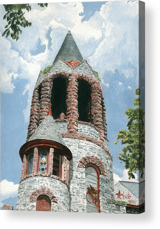 Church Acrylic Print featuring the painting Stone Church Bell Tower by Dominic White
