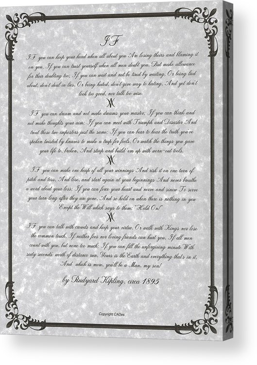 Stone Parchment If Poem By Rudyard Kipling Acrylic Print