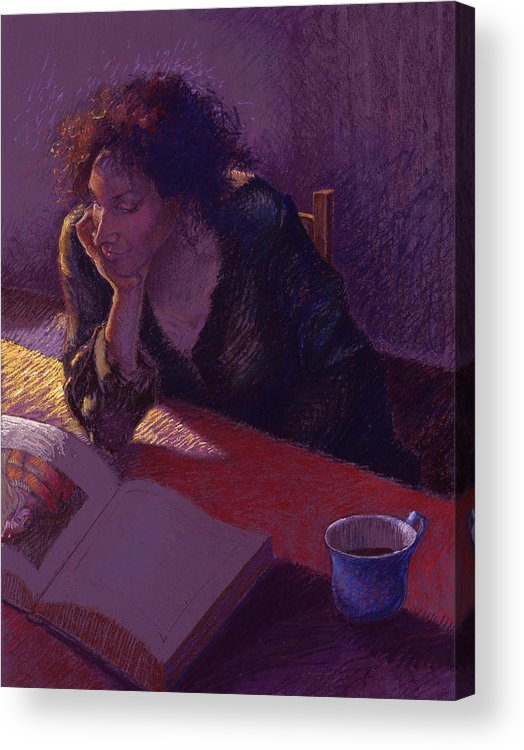 Woman Acrylic Print featuring the painting Sunday Morning by Ellen Dreibelbis