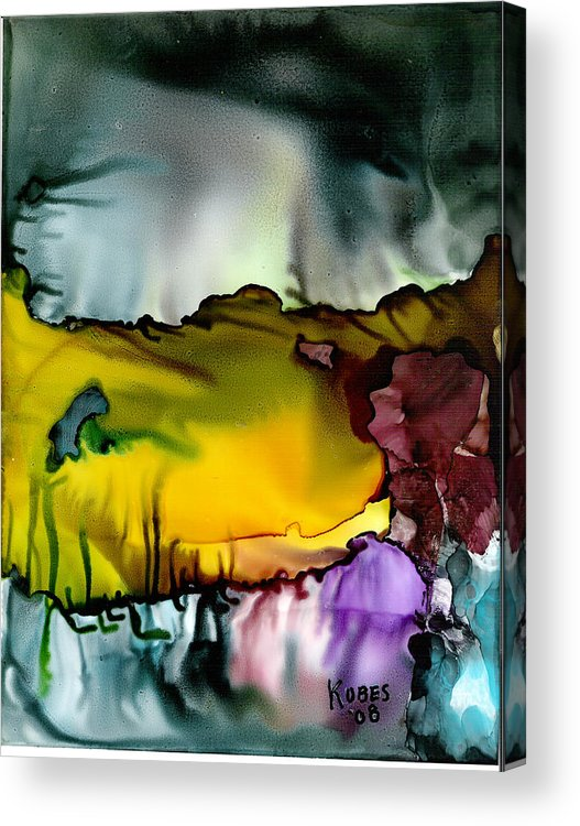 Abstract Acrylic Print featuring the mixed media Sunless Sea by Susan Kubes