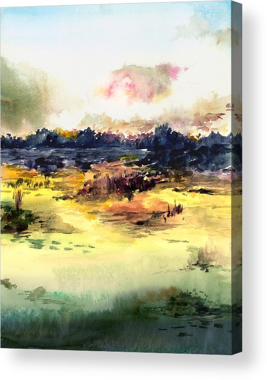 Landscape Water Color Sky Sunrise Water Watercolor Digital Mixed Media Acrylic Print featuring the painting Sunrise by Anil Nene