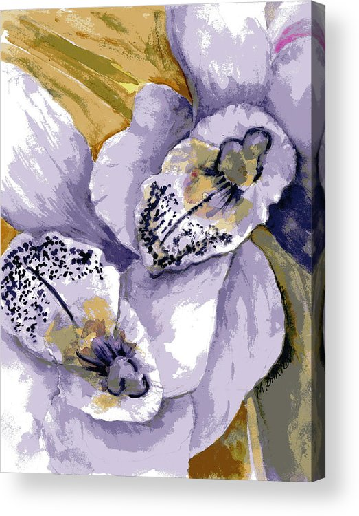 Flower Acrylic Print featuring the painting Sweet Orchids by Marilyn Barton