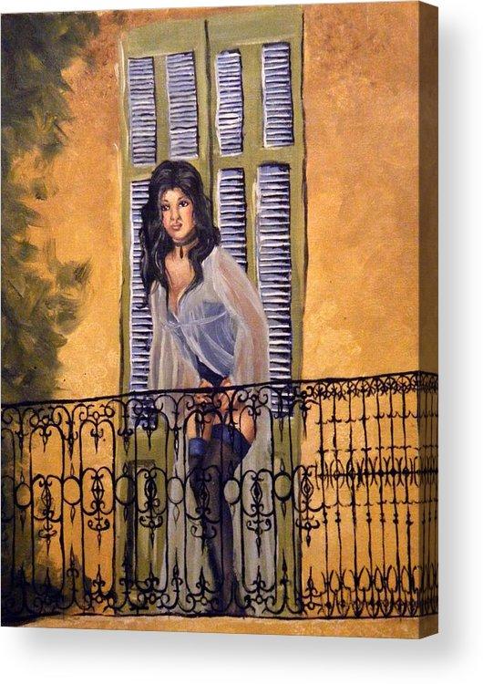 Balcony Acrylic Print featuring the painting The Balcony by Scarlett Royal