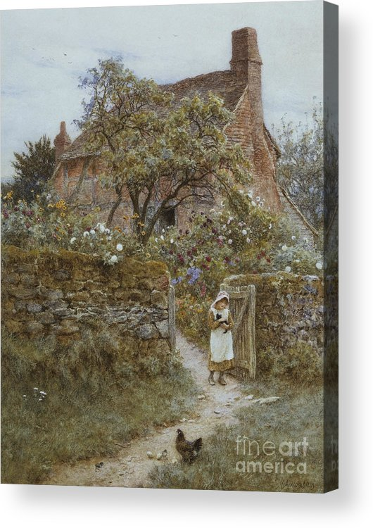 English; Landscape; Cottage; Rural; C19th; C20th; Country; Lane; Path; Child; Girl; Female; Victorian; Gateway Acrylic Print featuring the painting The Black Kitten by Helen Allingham