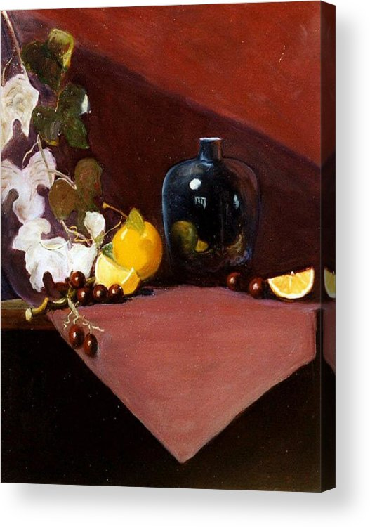 Still Life Acrylic Print featuring the painting The Black Vase by Jeanene Stein