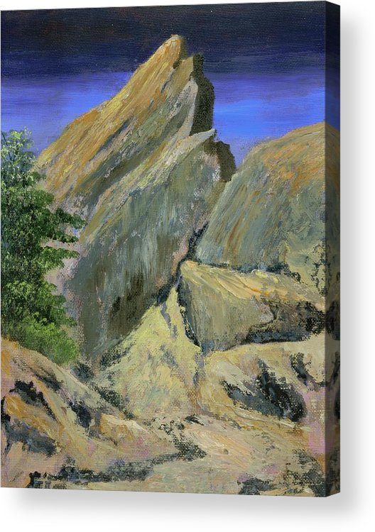 Mountains Acrylic Print featuring the painting The Day The Mountains Melted by Rhonda Myers