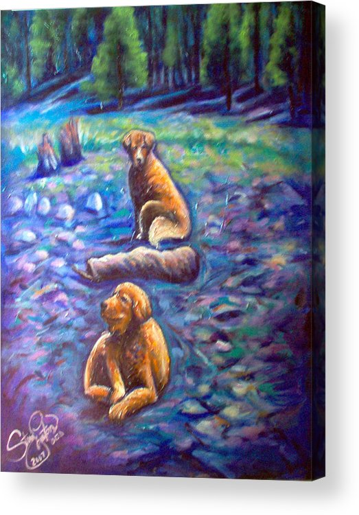 Animals Acrylic Print featuring the painting The Golden's by Steve Lawton