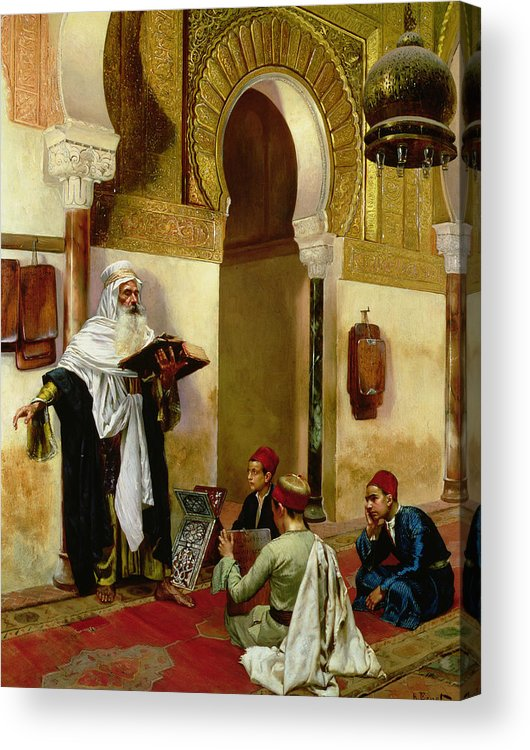 Children; Child; Teacher; Learning; Education; Orientalist; Imam; Moslem; Koran; Quran; Muslim; Religious; Religion; Middle Eastern; Arab Acrylic Print featuring the painting The Lesson by Rudolphe Ernst