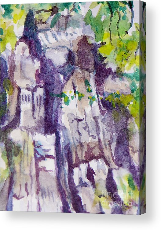 Purple Acrylic Print featuring the painting The Little Climbing Wall by Jan Bennicoff