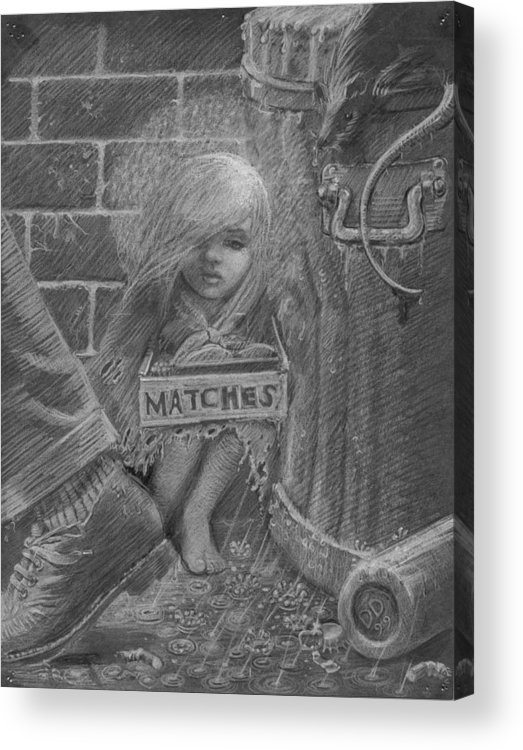 Hans Christian Andersen Acrylic Print featuring the drawing The Little Matchseller by David Dozier