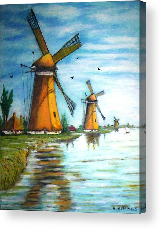 Windmills Acrylic Print featuring the painting The Mills Of Holland by Gloria M Apfel