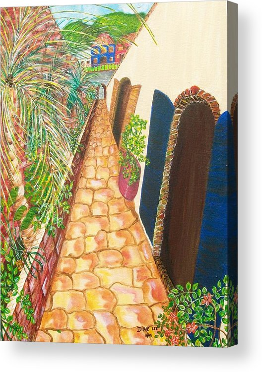 Island Alley Acrylic Print featuring the painting The Passage Way by Dixie Lee Hedrington