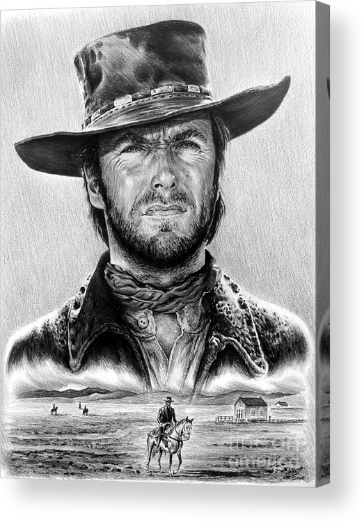 Clint Eastwood Acrylic Print featuring the drawing The Stranger Bw 1 Version by Andrew Read