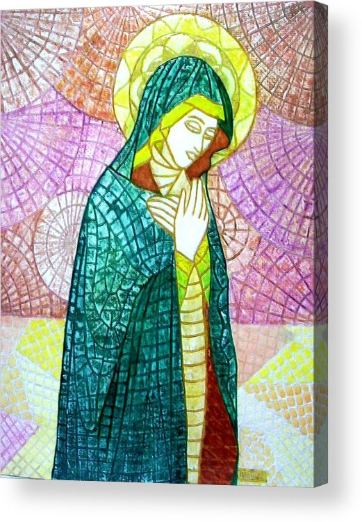 Acrylic Print featuring the mixed media The Virgin by Victor Madero