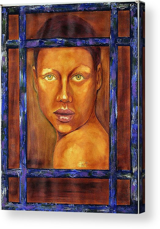Portrait Acrylic Print featuring the painting The Window by Dan Earle