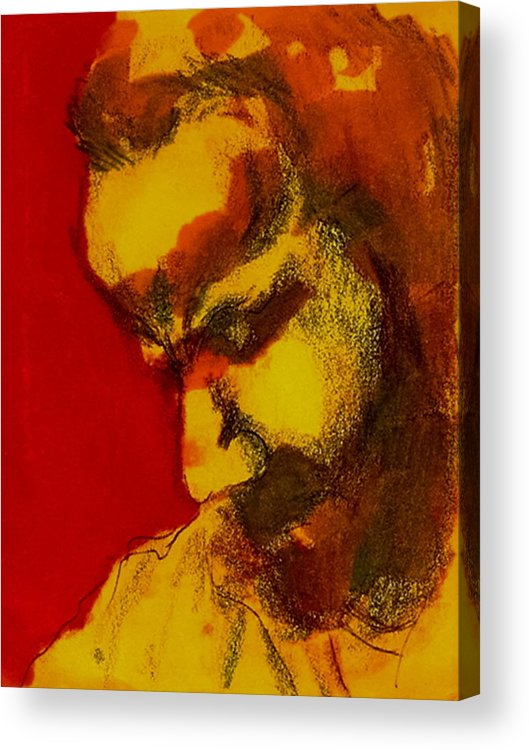 Man Acrylic Print featuring the drawing Thinking Man by Dannielle Murphy