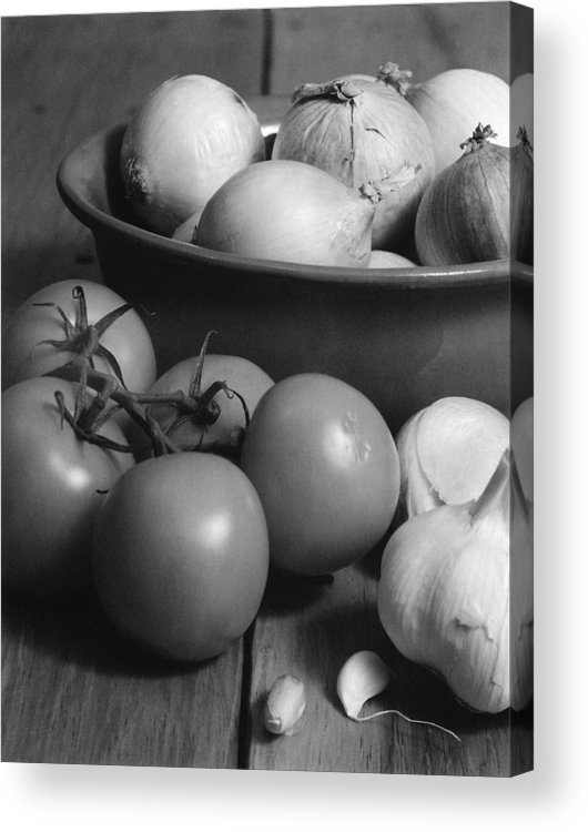 Cooking Acrylic Print featuring the photograph Tomatos Onion And Garlic by Henry Krauzyk