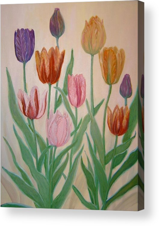 Flowers Of Spring Acrylic Print featuring the painting Tulips by Ben Kiger