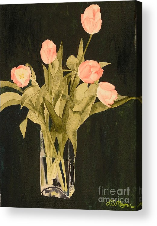 Tulips Acrylic Print featuring the painting Tulips On Velvet by Louise Magno