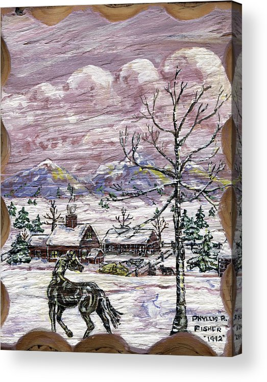 Snow Scene Acrylic Print featuring the painting Unexpected Guest II by Phyllis Mae Richardson Fisher