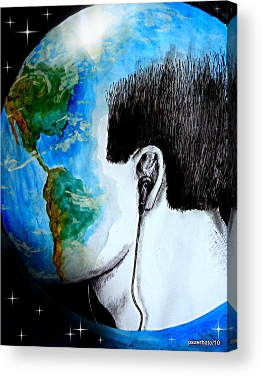 Sons Acrylic Print featuring the digital art Unique Way To Hear The Sounds Of Nature by Paulo Zerbato
