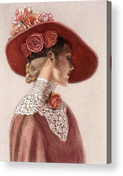 Victorian Lady Acrylic Print featuring the painting Victorian Lady In A Rose Hat by Sue Halstenberg