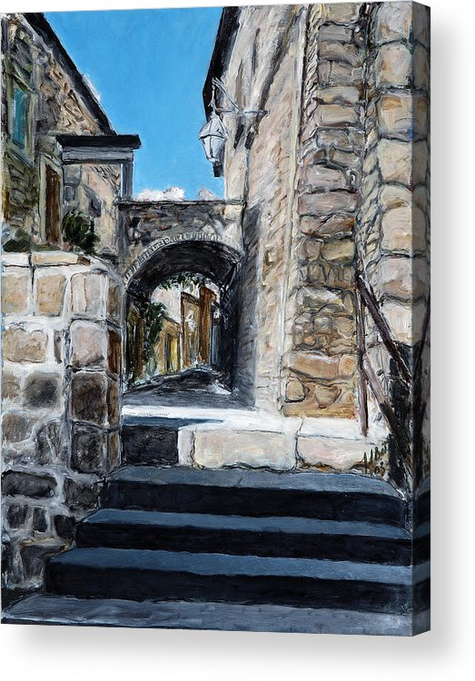 Italy Town Archway Steps Indigo Walls Blue Acrylic Print featuring the painting Viterbo Archway by Joan De Bot