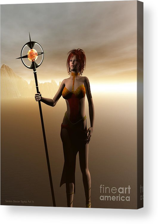 Bryce Acrylic Print featuring the digital art Warrior Princess by Sandra Bauser Digital Art