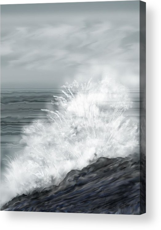 Seascape Acrylic Print featuring the painting Waves Crashing The Rocks In Ireland by Anne Norskog
