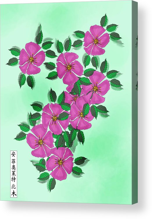 Floral Acrylic Print featuring the painting Wild Roses by Anne Norskog