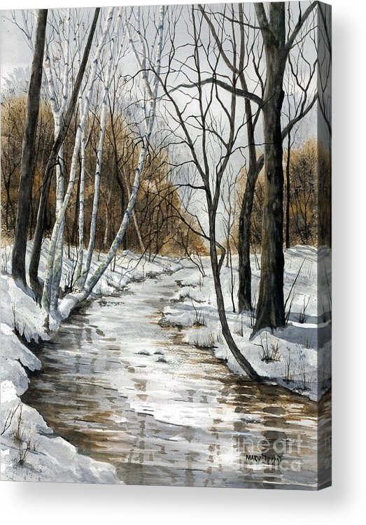 Minnesota Acrylic Print featuring the painting Winter River by Mary Tuomi