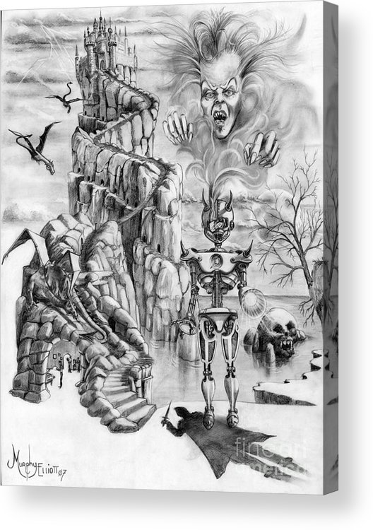Witch Acrylic Print featuring the drawing Witch Hunter by Murphy Elliott