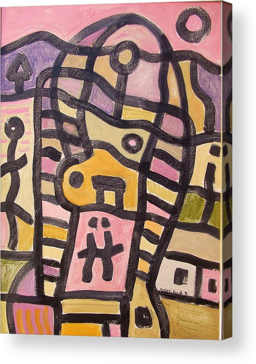Abstract Acrylic Print featuring the painting Woman In Pain by Michael Keogh