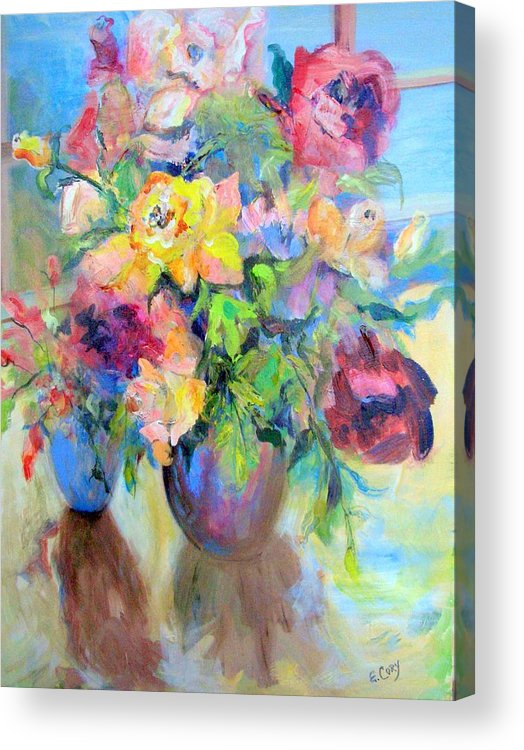 Floral Acrylic Print featuring the painting Yellow Rose by Elaine Cory