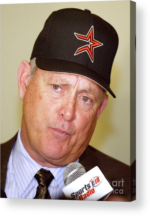 Minute Maid Park Acrylic Print featuring the photograph Houston Astros Sign Nolan Ryan To by Bob Levey