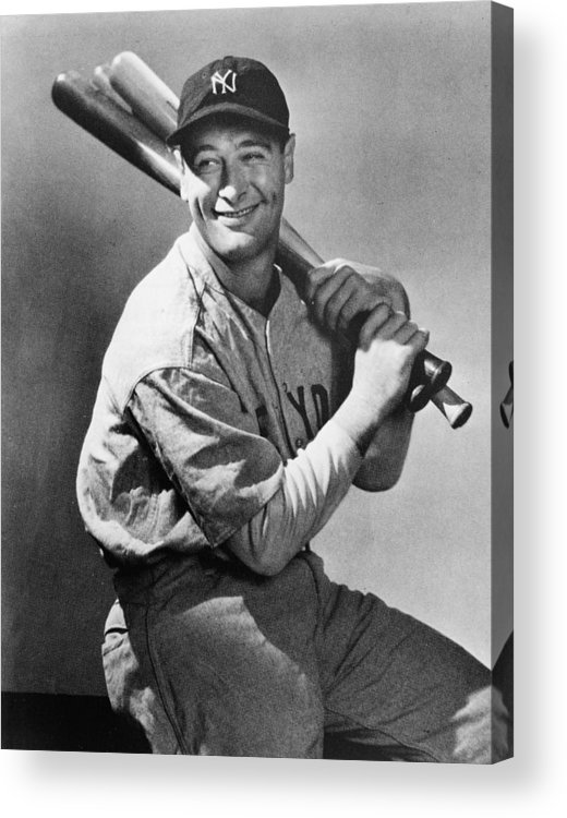 People Acrylic Print featuring the photograph Lou Gehrig Holding Three Baseball Bats by Pictorial Parade